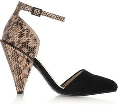 Suede and Snake-Effect Leather Pumps. We simply love these.