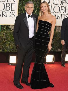 George Clooney and Stacy Keibler at the Golden Globe Awards 2013 http://pinterest.com/cosmopolitanus/cosmo-red-carpet/