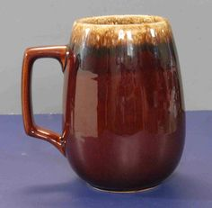 RARE 32oz HULL Pottery BIG Beer STEIN Coffee Mug Mirror BROWN DRIP Ovenproof USA #Hull
