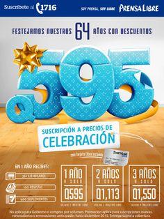 En nuestro 64 aniversario – Suscripción a Precios de Celebración #PrensaLibre Prensa Libre Guatemala Noticias Guatemala