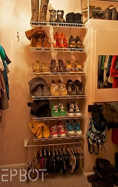 Shoe organization and DIY flip-flop/flats hanging storage.