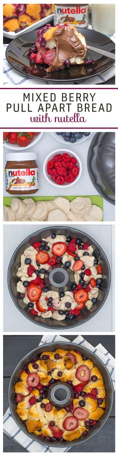 Bring together the whole family with this berry pull-apart bread. Cut pre-made biscuit dough into small pieces and layer them with blueberries, raspberries and strawberries in a greased bundt pan. Follow baking instructions and wait for it to cool down. Flip the pan over, pull a piece off and spread with Nutella®.