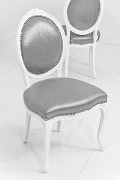 The very popular Victoria Dining Chair in Metallic Talpa Linen