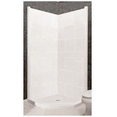 American Bath Factory Monterey Light Sistine Stone Wall Stone Composite  Floor Neo Angle 7 Piece Corner Shower Kit PW N363680MO RC
