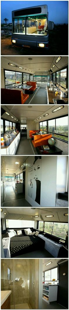Israeli Public Bus Transformed Into Luxury Home: Sweet Ride.,Israeli Public Bus Transformed Into Luxury Home: Sweet Ride. If it were almost half the length and slightly taller, it'd be perfect. Bus Living, Tiny House Living, Mobile Living, Mobile Home, Bus House, House On Wheels, Design Case, My Dream Home, Luxury Homes