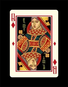 Icons Playing Cards by Lotrek Imperial Edition - Queen of Diamonds | more here: http://playingcardcollector.net/2015/02/05/icons-playing-cards-the-imperial-edition-by-lotrek/