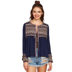 Shop Navy Embroidered Yoke And Cuff Coin Fringe Trim Blouse online. SheIn offers Navy Embroidered Yoke And Cuff Coin Fringe Trim Blouse & more to fit your fashionable needs. Bohemian Mode, Shirt Blouses, Blouses 2017, Blouses For Women, Ladies Blouses, Women Sleeve, Fringe Trim, Womens Fashion For Work, Embroidered Blouse