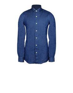 Button-down shirt in indigo cotton fabric. Regular fit.