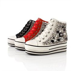 W O N D E R F U L <3 ;w;  YESSTYLE: Smoothie- Genuine Leather Jeweled High-Top Sneakers