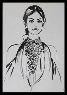 Haute Couture Illustration painted with black ink Fashion Painting, Fashion Art, Metallica, Ink Illustrations, Acrylic Colors, Style Inspiration, The Originals, Unique, Black