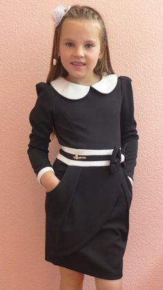 """Школьное платье """"запах"""" (черный), цена 280 грн., купить в Одессе — Prom.ua (ID#295657424) Dresses Kids Girl, Little Girl Outfits, Little Girl Fashion, Little Girl Dresses, Cute Dresses, Cute Outfits, Young Fashion, Kids Fashion, Women's Fashion"""