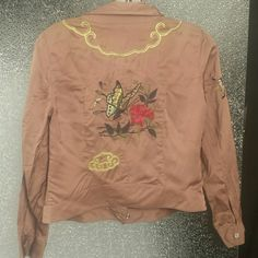 Odd molly silky asian embroidered patch jacket Lots of great details on this. Never worn, but slight separation near the shoulder.  $64 on merc Anthropologie Jackets & Coats