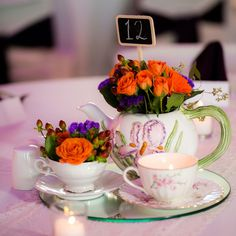 A vintage tea set makes a charming centerpiece.
