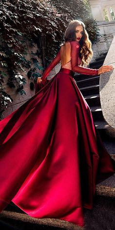 12 Your Lovely Red Wedding Dresses ❤️ red simple a line open back long sleeve wedding dress by ariamo bridal ❤️ Full gallery: weddingdressesgui. are in the right place about Red Wedding spring Here we offer you the mo Cute Prom Dresses, Prom Outfits, Bridal Outfits, Pretty Dresses, Elegant Dresses, Bridal Dresses, Formal Dresses, Long Red Dresses, Bridesmaid Dresses