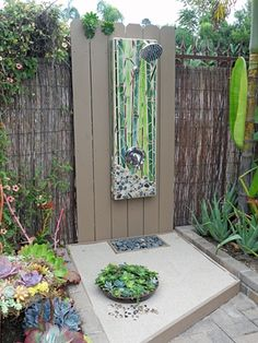 """Wall Shower """"Bamboo Reflections"""" 240 S Cedros Ave Solana Beach, CA Outdoor Pool Shower, Outdoor Baths, Outdoor Bathrooms, Outdoor Rooms, Outdoor Gardens, Outdoor Decor, Terrazas Chill Out, Outside Showers, Outdoor Glider"""