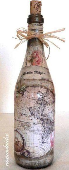Bottle decoupage Like the idea of maps.