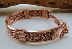 Handwoven Copper Wire Bracelet by SilverStringsStrands on Etsy, $36.00