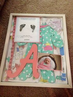 Baby shadow box I made for Aubree after she was born. Love how it turned out :)