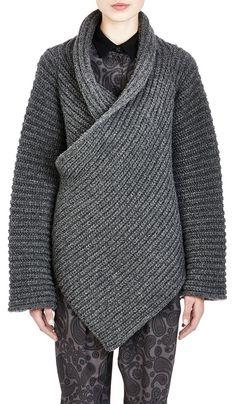 Grey Plain Irregular Long Sleeve Cardigan Sweater