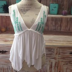 "☃ NWOT ""Made of Honor"" summer top Very soft material. Deep v-neck with green detailing. Racerback. Would probably best fit busts size C-D Tops Tank Tops"