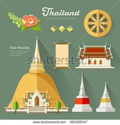 Thai Pagoda with temple, wheel of life, and flower, collections of thailand. vector illustration