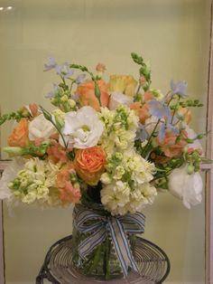 Delphinium, Stock, Lisianthus, Roses, Snapdragons