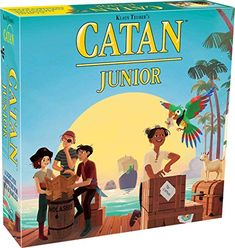 """CATAN Junior is for families with children ages Simplified building rules, child-oriented trading, and a more innocuous robber equivalent called the """"Ghost Captain"""" provide access to the world of CATAN games. Popular Family Board Games, Family Games, Classic Board Games, Board Games For Kids, Catan Board Game, Ticket To Ride, Just A Game, Family Game Night"""
