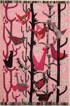 Pink Paradise Birdsong 2015 by Susan Briscoe.  Quilters' Guild UK.