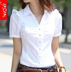 Camisa Feminina 2018 Chiffon Blouse Shirts Women Summer Tops Plus Size Women Clothing White Lace Blouses Cute Blouses, Cotton Blouses, Shirt Blouses, Blouses For Women, Blouses 2017, Womens Trendy Tops, Sewing Blouses, White Lace Blouse, Ruffle Blouse