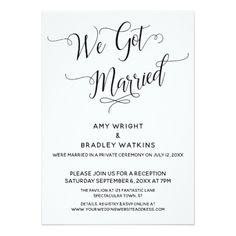 """We Got Married"" Elegant Post-Wedding Reception Invitation - invitations custom unique diy. """