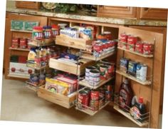 Choose pantry-shelving solutions that work best for your kitchen pantry or cupboard with these organization tips from HGTVRemodels. Choose pantry-shelving solutions that work best for your kitchen pantry or cupboard with these organization tips from HGTV. Kitchen Pantry Storage, Pantry Shelving, Kitchen Pantry Cabinets, Pantry Organization, Storage Cabinets, Pantry Ideas, Kitchen Ideas, Organized Kitchen, Kitchen Layouts