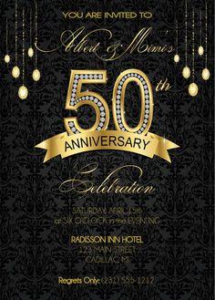 50th Anniversary Invitation 50th Wedding by FabPartyPrints on Etsy, $15.00