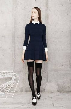Preppy dress with collar and cuffs paired back to thigh high tights and oxford shoes! Love this look! Source by aliceandolivia Dresses Preppy Dresses, Preppy Outfits, Cute Dresses, Cute Outfits, Girl Fashion, Fashion Outfits, Womens Fashion, Dress With Stockings, Girls In Mini Skirts