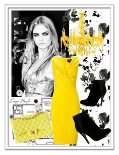 """""""Black & Yellow"""" by bellaeve ❤ liked on Polyvore featuring Ariella, Chanel, Baggins, ALDO, yellow, black, CelebrityStyle and fallfashion"""