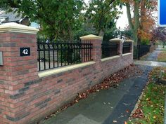 Bespoke wrought iron railings fabricated and installed for a customer in East Yorkshire Compound Wall Gate Design, Fence Wall Design, Front Wall Design, Garden Wall Designs, Front Garden Ideas Driveway, Driveway Design, Driveway Landscaping, Backyard Fences, Garden Railings