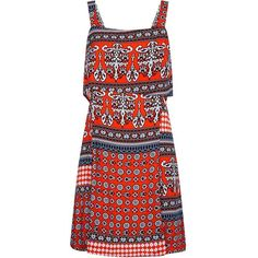 AX Paris Orange Tribal Print Overlay Top Dress ($33) ❤ liked on Polyvore featuring dresses, red mini dress, mini dress, summer dresses, red cut out dress and red summer dress