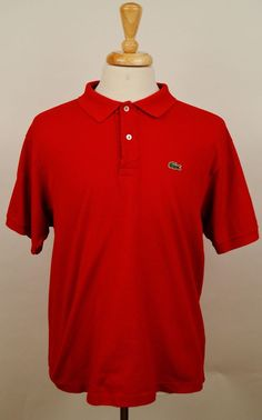 Lacoste Solid Red 100% cotton Short Sleeve Polo Shirt Men's size 7 XL #Lacoste #PoloRugby