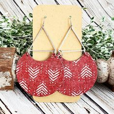 Red Cork and Leather Earrings, Chevron Leather Earrings, Geometric Earrings, Statement Earrings, Large Round Earrings, Red Earrings by whiteshedcreations on Etsy