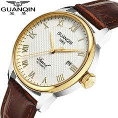 54.57$  Buy here - http://aliymp.worldwells.pw/go.php?t=32390657178 - Relogio masculino fashion guanqin Mechanical Hand Wind watches men leather causal business watch waterproof gold wristwatches