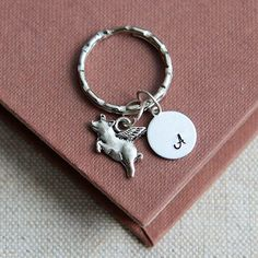 Flying Pig Keychain Flying Pig Keyring Initial Keychain