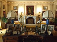 lamps and charming shades--mantel decor--Polesden Lacey - The Library