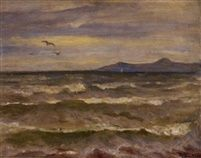 '' Seascape ''  Oil on Canvas,  61 x 81 cm.   by  Hector Doukas (1885–1969)
