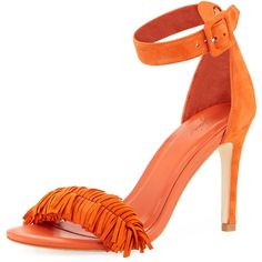 Joie Pippi Suede Fringe Sandal (€120) ❤ liked on Polyvore featuring shoes, sandals, orange, suede fringe shoes, ankle wrap sandals, ankle strap sandals, leather ankle strap sandals and d'orsay shoes