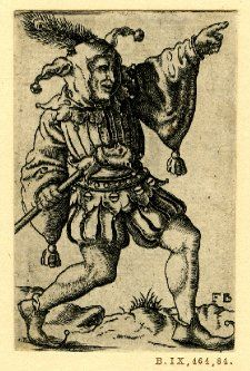 A fool with a peacock feather on his cap walking to r; holding a staff with a fool's head. From a series of four engravings. British Museum Collections