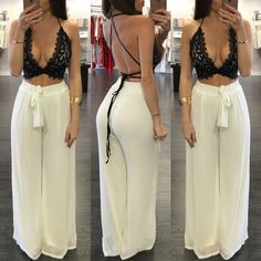 2016 Sexy Deep V neck Women Jumpsuit Summer Two Pieces Set Lace Backless Crop Top Long Loose Pants Beach Party Bodycon Playsuit - - Houzz of Threadz - V-neck Strap Lace Hollow Out Top Wide Legs Pants Suit - Shoes-Party - combinaison femm Two Piece Jumpsuit, Rompers Women, Jumpsuits For Women, Chic Outfits, Fashion Outfits, Fashion Bra, Beach Outfits, Girl Clothing, Classy Outfits