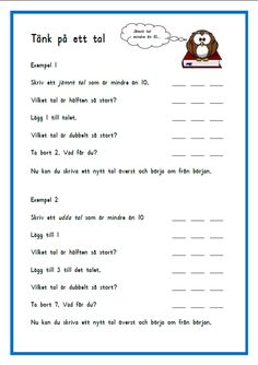 Tänk på ett tal Math School, School Teacher, Teacher Education, Special Education, Learn Swedish, Swedish Language, Homework Organization, Math 2, Math Word Problems