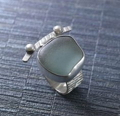 Gray Sea Glass Ring With Pearls, Size 8, Sterling And Fine Silver, Handmade Statement Ring, Unique Sea Glass Jewelry By MarkWhiteDesigns
