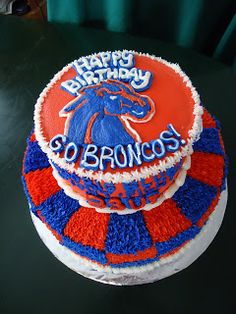 Cat's Cake Creations: BOISE STATE BRONCOS BIRTHDAY CAKE! #BoiseStateCake