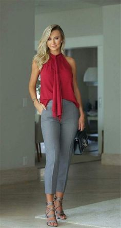 Nice burgundy top with grey pants and sandals - Casual Summer Outfits for Work Office Wear Women Work Outfits, Sexy Work Outfit, Business Casual Outfits For Women, Spring Work Outfits, Casual Summer Outfits, Classy Outfits, Work Attire, Office Attire, Chic Outfits