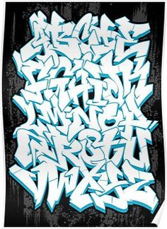 'Graffiti Alphabet' Poster by Graffiti Tattoo, Graffiti Text, Graffiti Piece, Graffiti Tagging, Graffiti Drawing, Street Art Graffiti, Graffiti Artists, Graffiti Alphabet Styles, Graffiti Lettering Alphabet